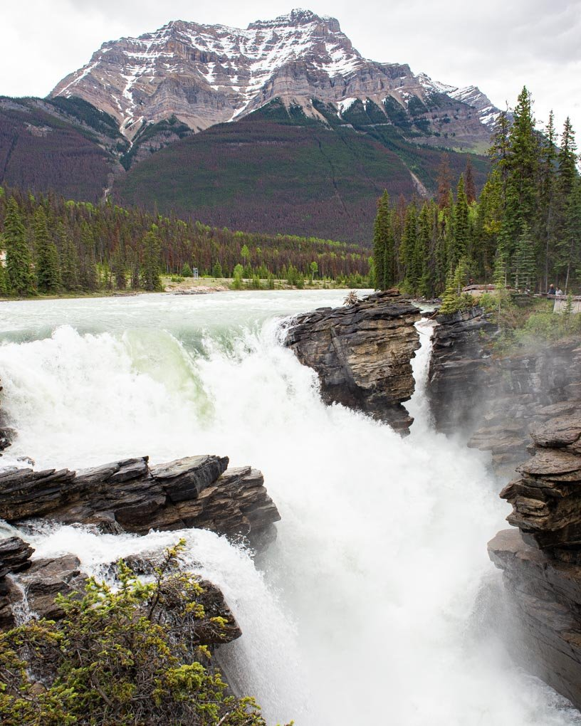 The famous Athabasca Falls on the Icefields Parkway on a gloomy day in Canada