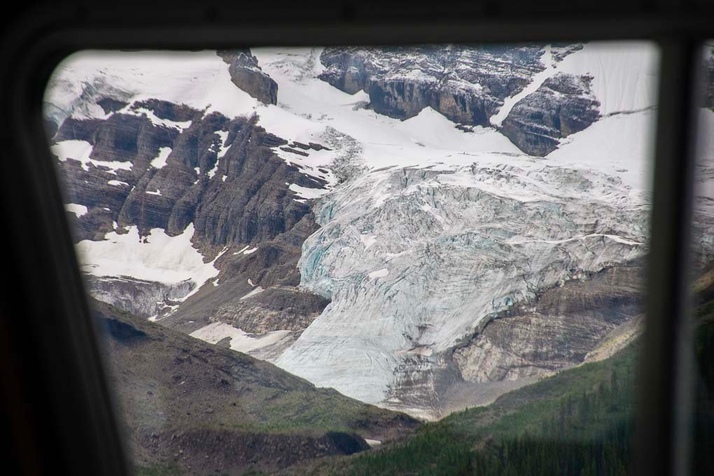A glacier through the window of our boat on Maligne Lake