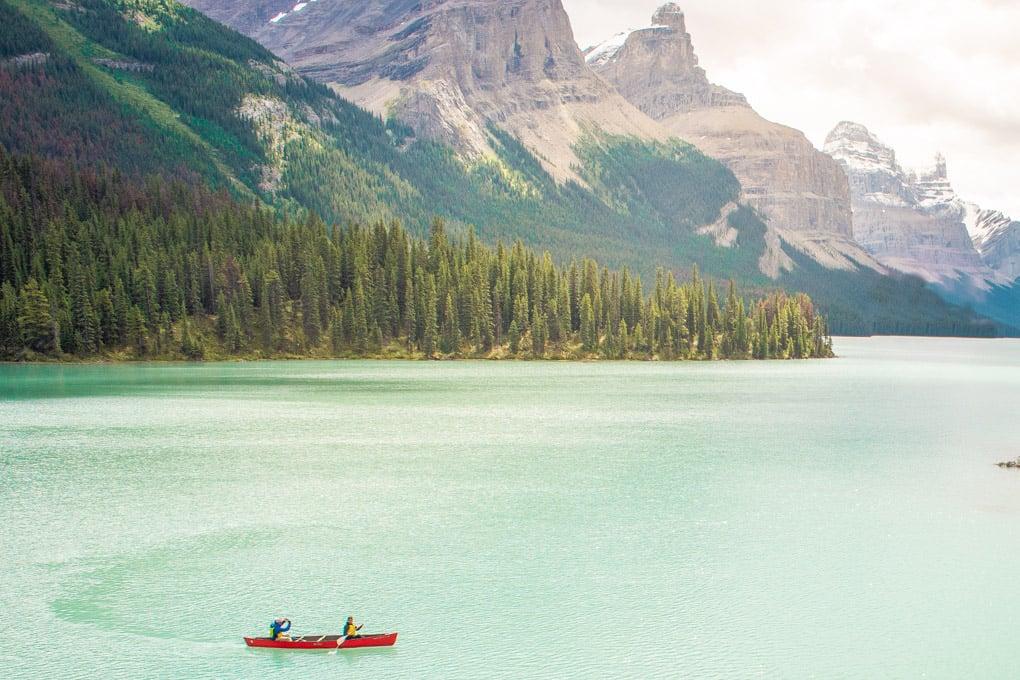 canoeing on Maligne Lake Jasper