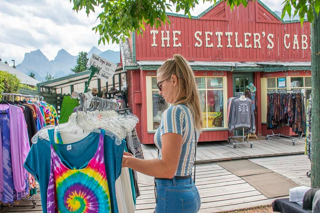 Bailey shopping on 8th Street in Canmore, AB