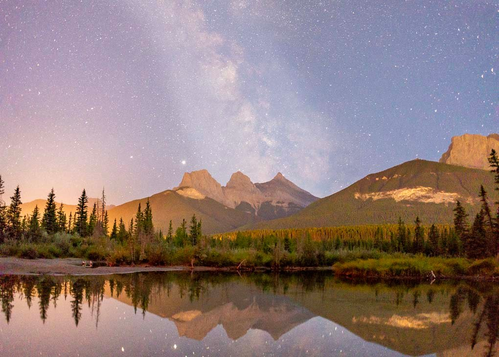 The Milky-way above the Three Sisters taken from Policeman's Creek in Canmore!