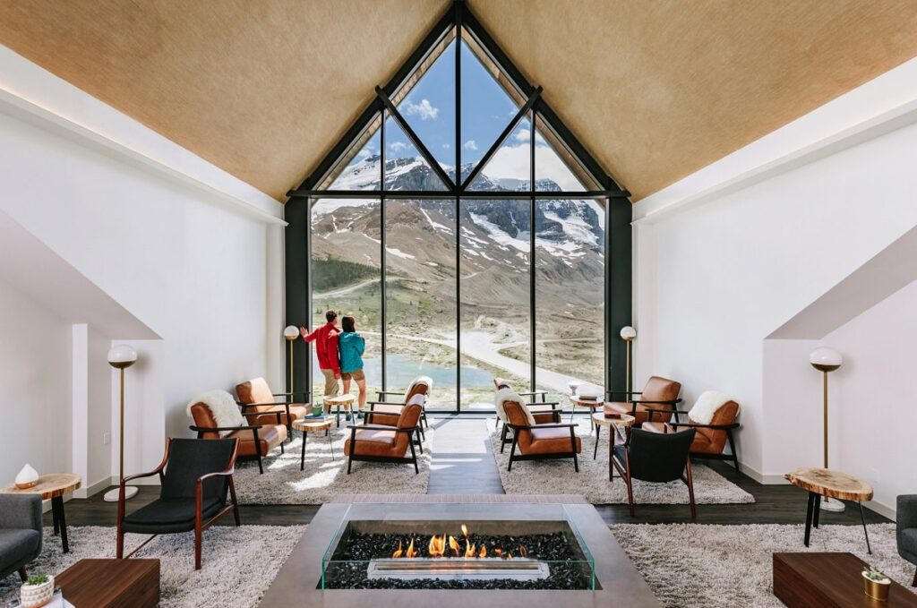 inside the beautiful Glacier View Lodge on the Icefield Parkway