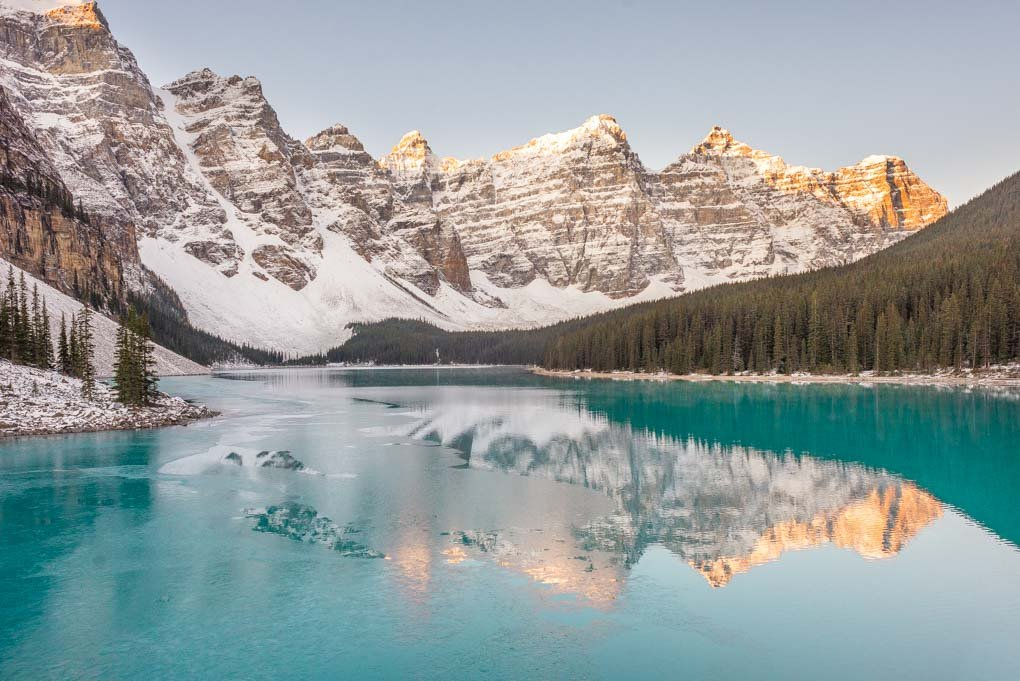 Lake Moraine at sunrise in Banff National Park