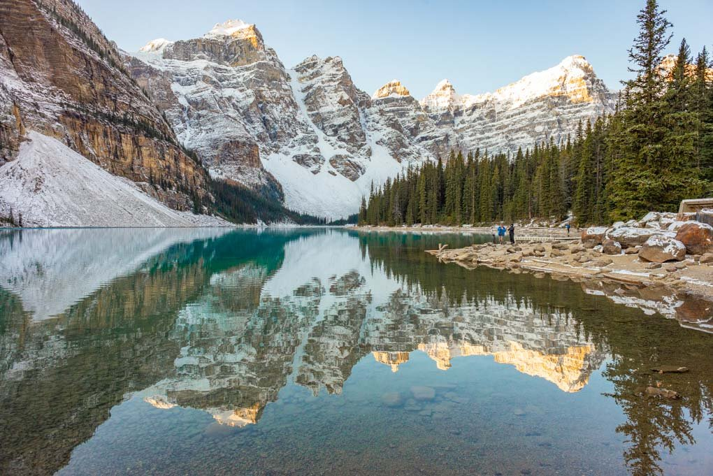 Lake Moraine just after sunrise in Banff National Park