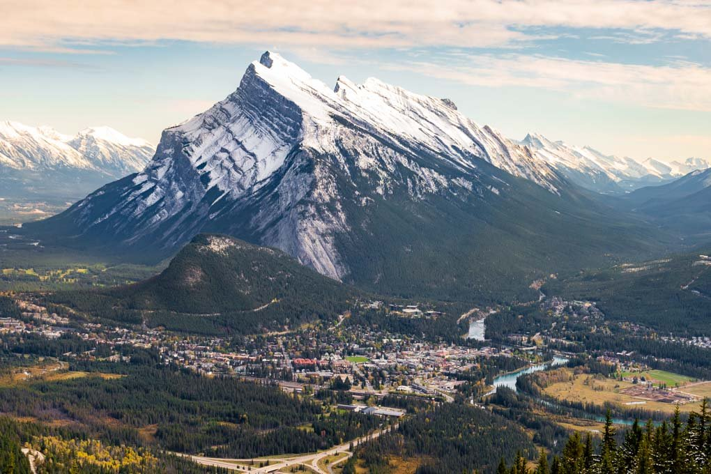 View for the Mt Norquay cairlift of Banff Town and Mt Rundle