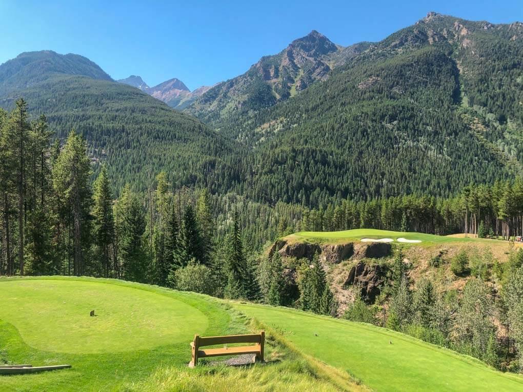 The Cliffhanger Hole at Greywolf Golf Course near Radium, BC