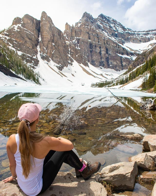 Sitting back and watching time go by at Lake Agnes