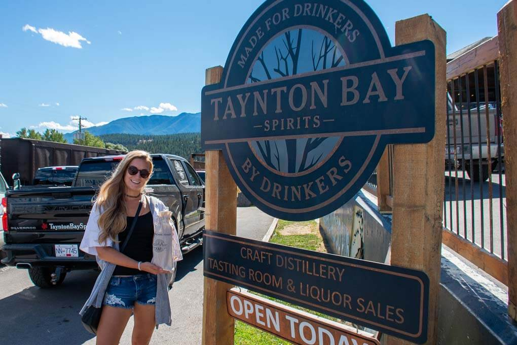outside the tanton bay distillery in invermere BC