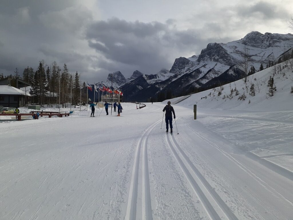 woman cross country skiing in Canmore, Alberta