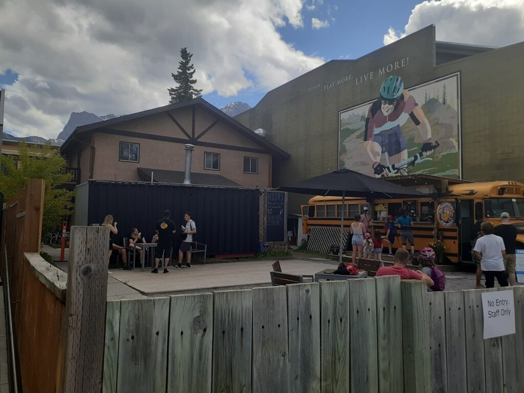 the outside of the ice cream school bus in Canmore, Alberta