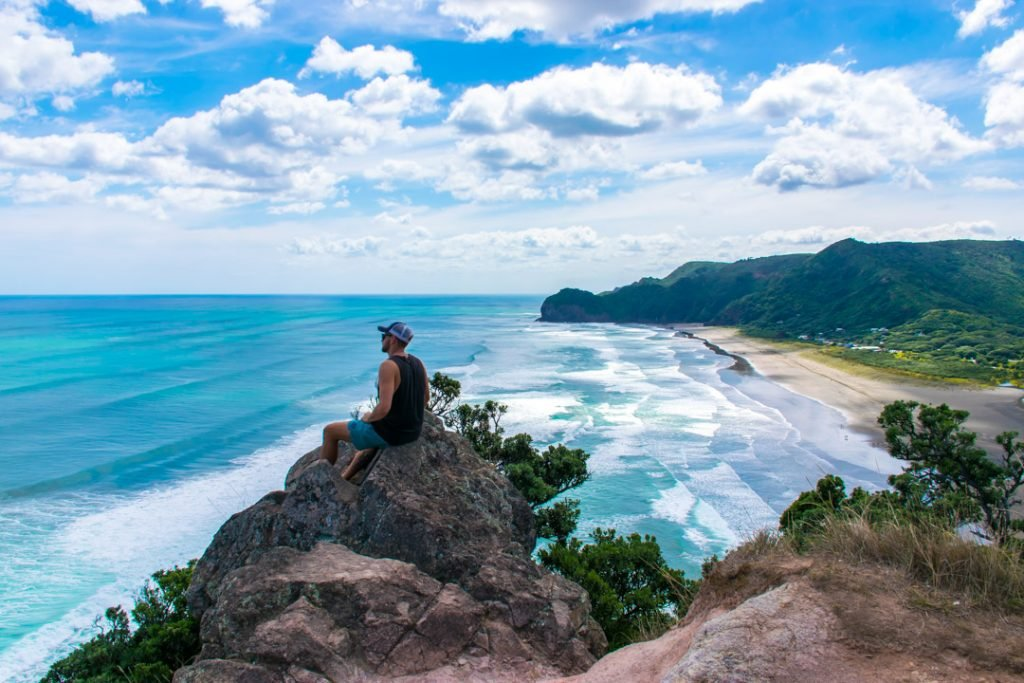 View of Piha Beach, New Zealand from the top of Lion Rock