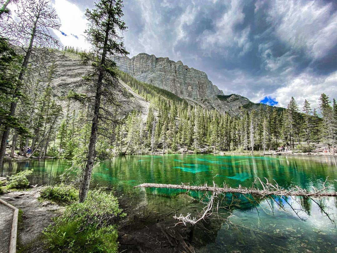 Grassi Lakes reflects the surounding mountains in Canmore, Alberta
