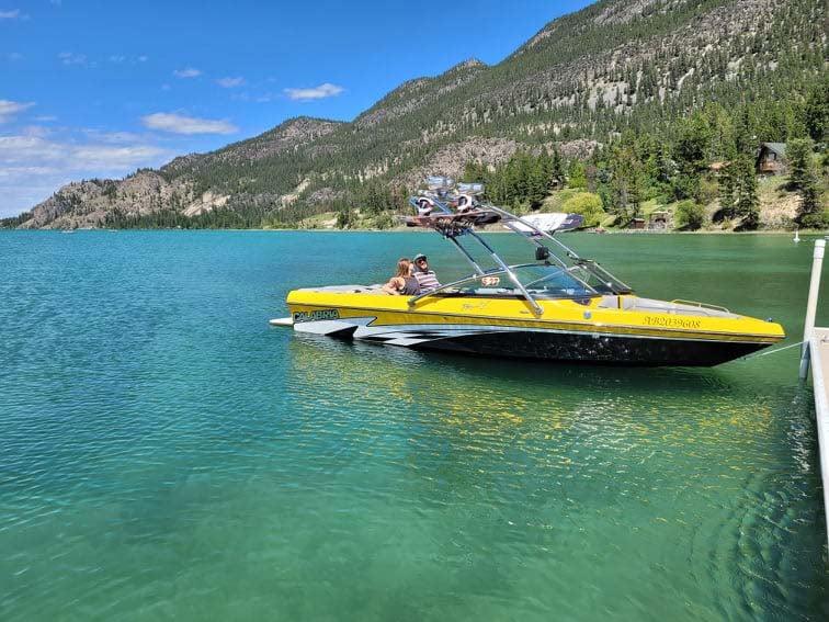 wake-boarding tour on Columbia Lake