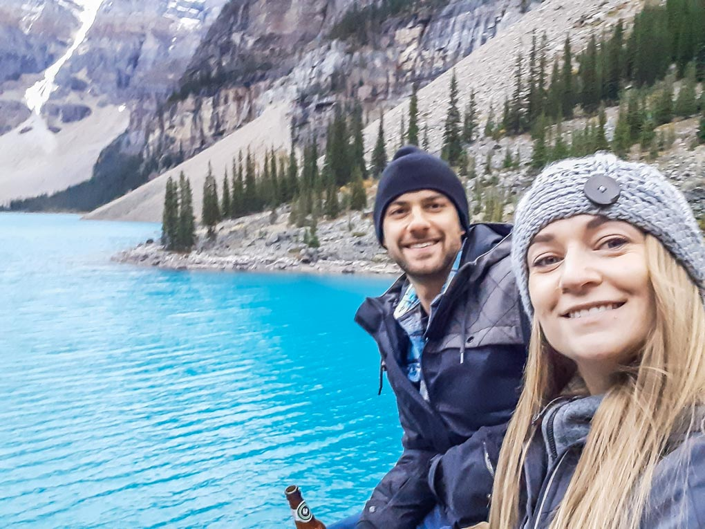 Daniel and Bailey take a selfie at Consolation Lakes in Canada