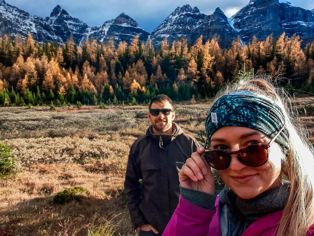 dan and bailey take a selfie in the larch valley, Canada