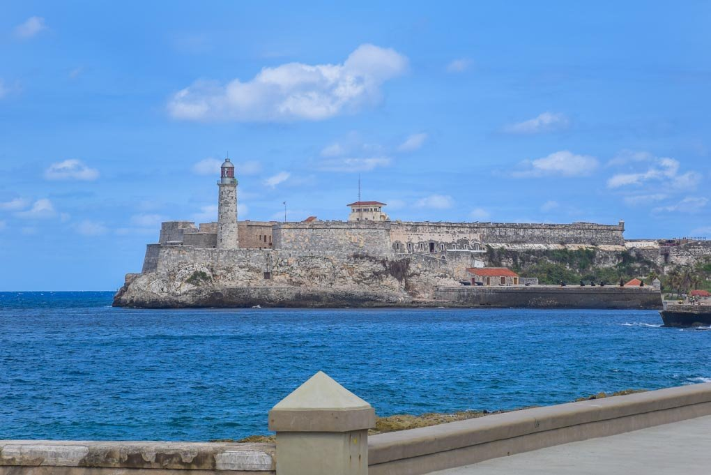Views fo the fort and ocean from the Malecon in Havana