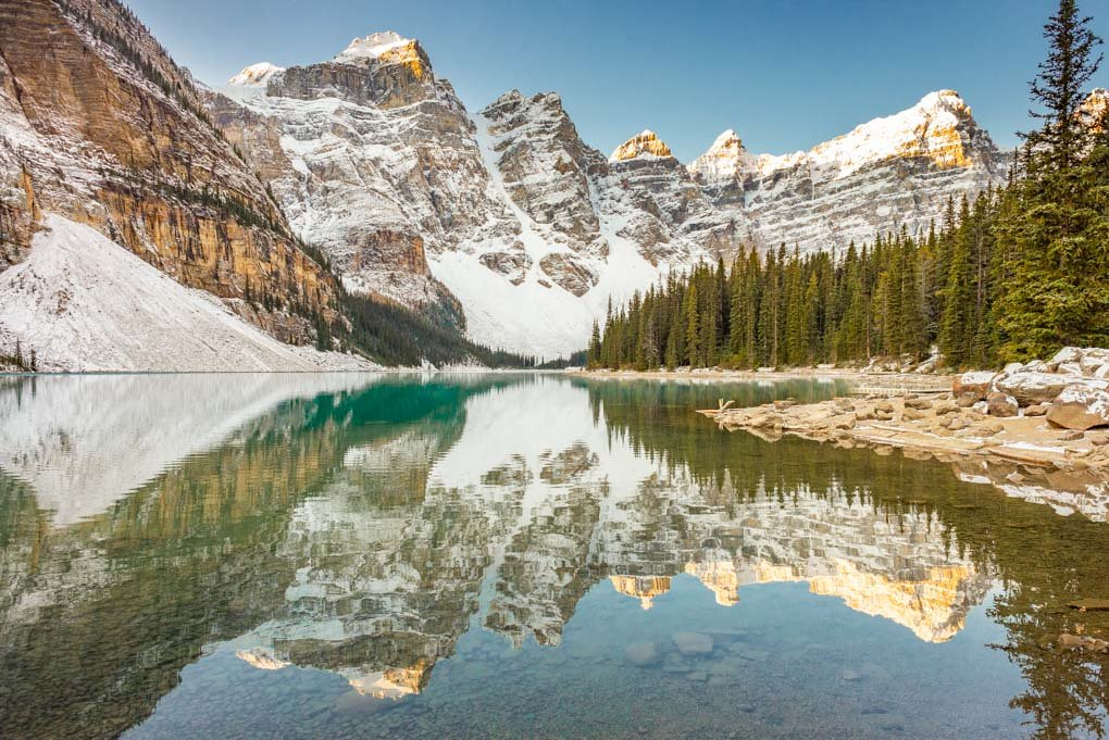 lake Moraine at sunrise in fall