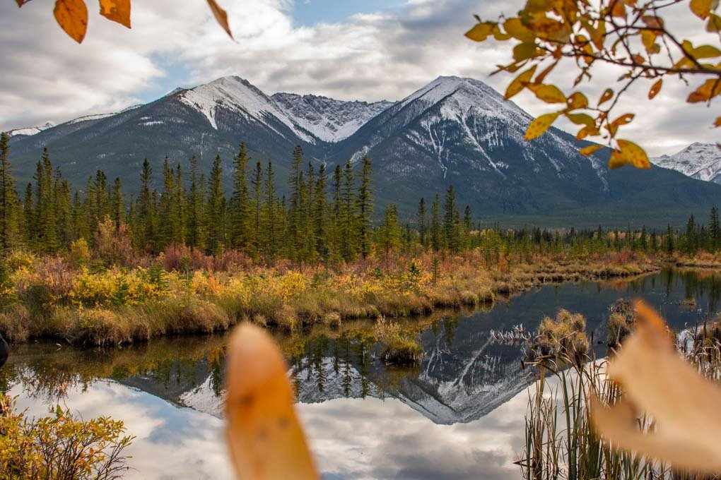 Reflections at Vermilion Lakes during fall in Banff