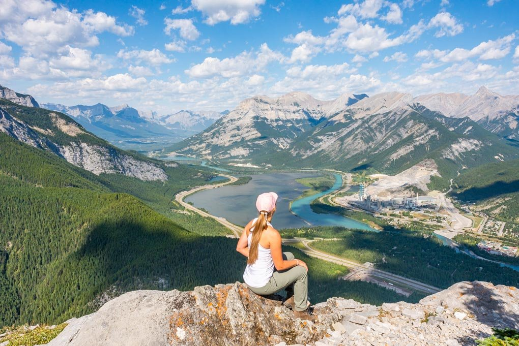 One of the viewpoints on the Heart Mountain Hike just outside of Canmore, AB on a beautiful sunny day.