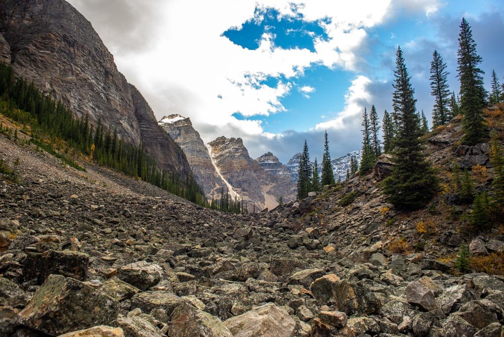 Looking back at the Ten Peaks from the Consolation Lakes Trail