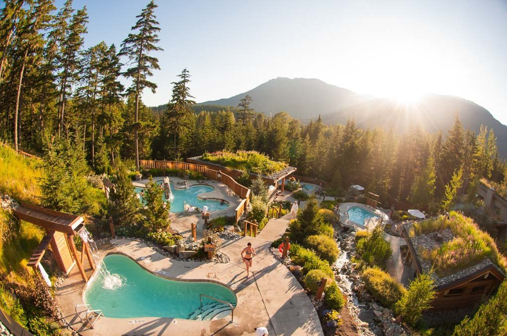 view of the Scandinave Spa, Whistler