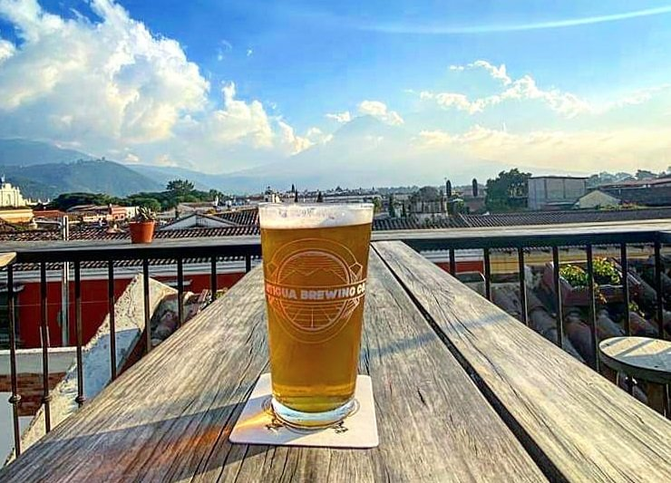 view from the antigua brewing company in Antigua, Guatemala