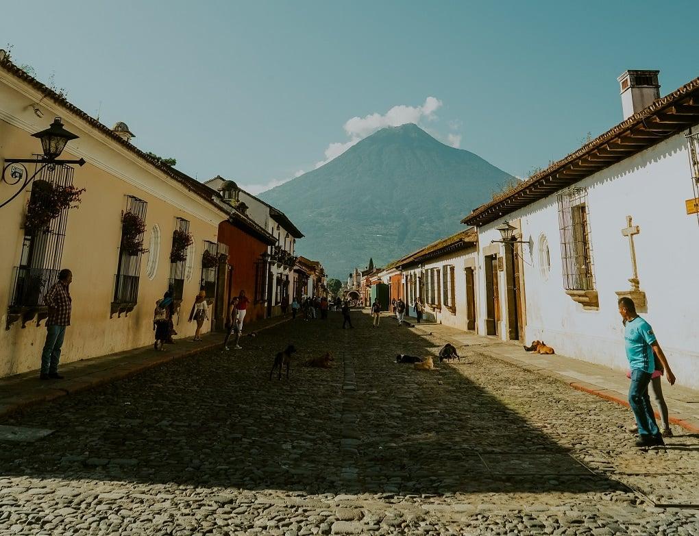 the cobble stone streets and volcano view in Antigua, Guatemala