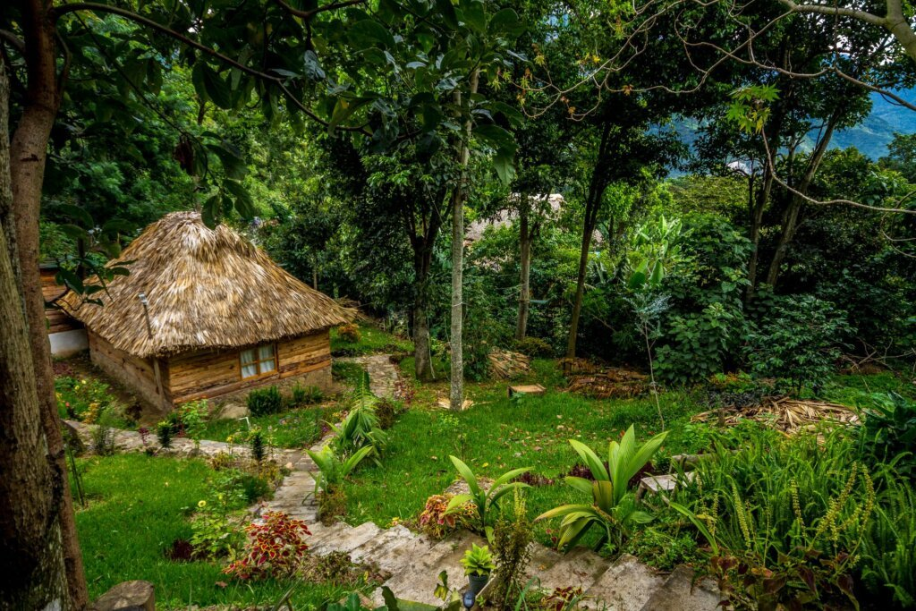 the grounds and a cabin at eco-hotel mayachik' on Lake Atitlan