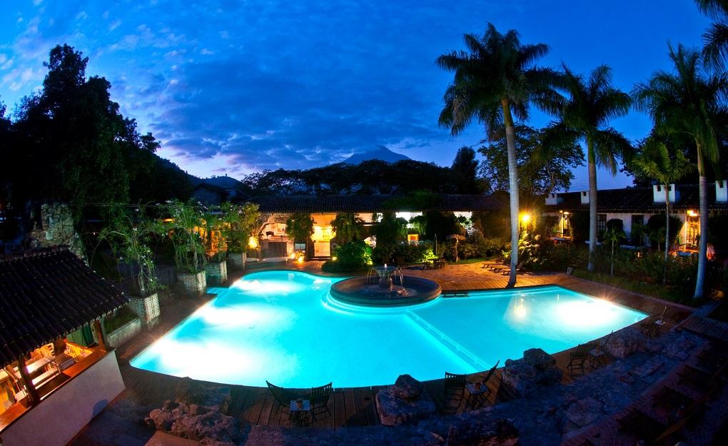 the pool at hotel casa santa domingo in antigua, guatemala