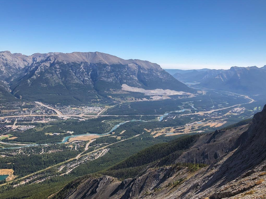 Looking down on Canmore from the trail