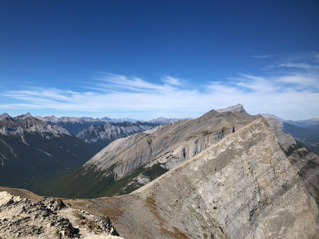 The view from miners Peak looking over at Ha Ling Peak