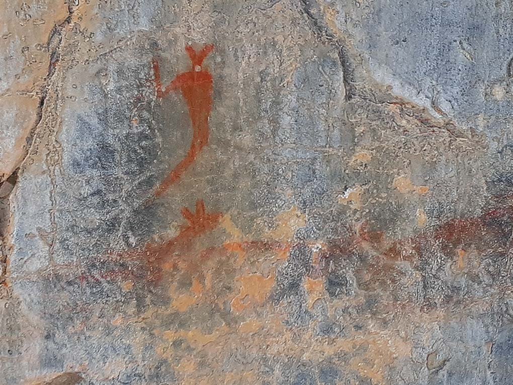 Indigenous art work in Grotto Canyon, Canmore