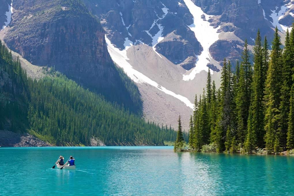 Canoeing on Moraine Lake, Banff National Park