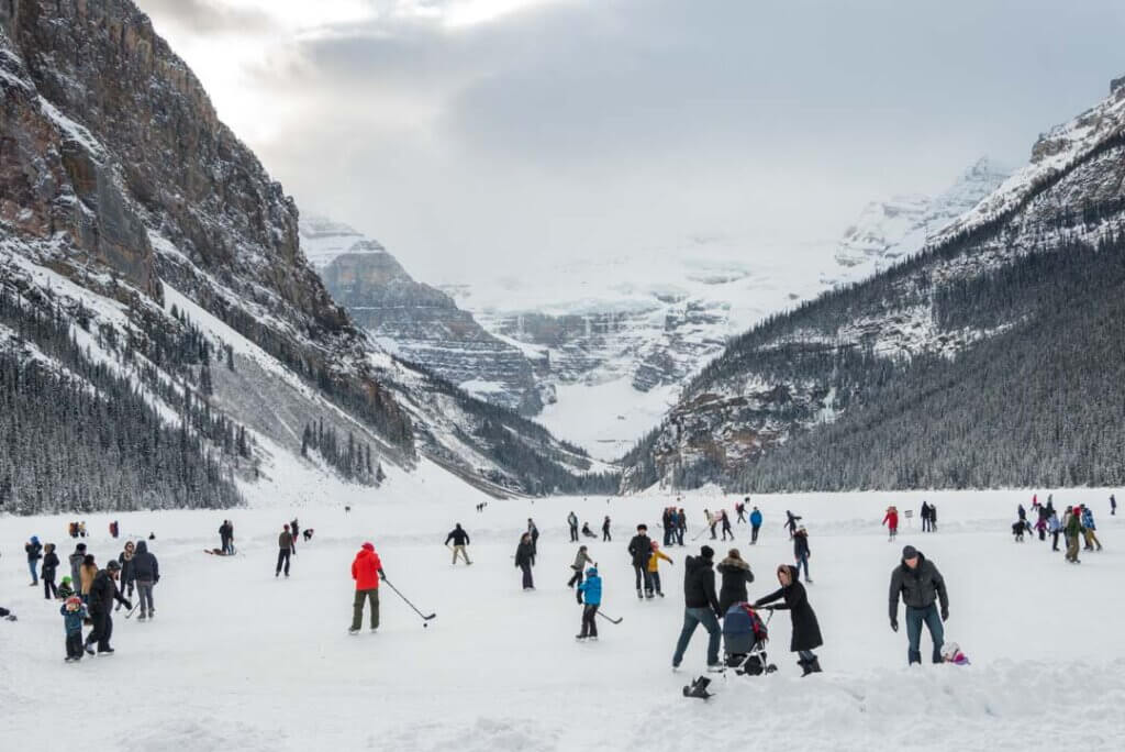 People ice skating at Lake Louise