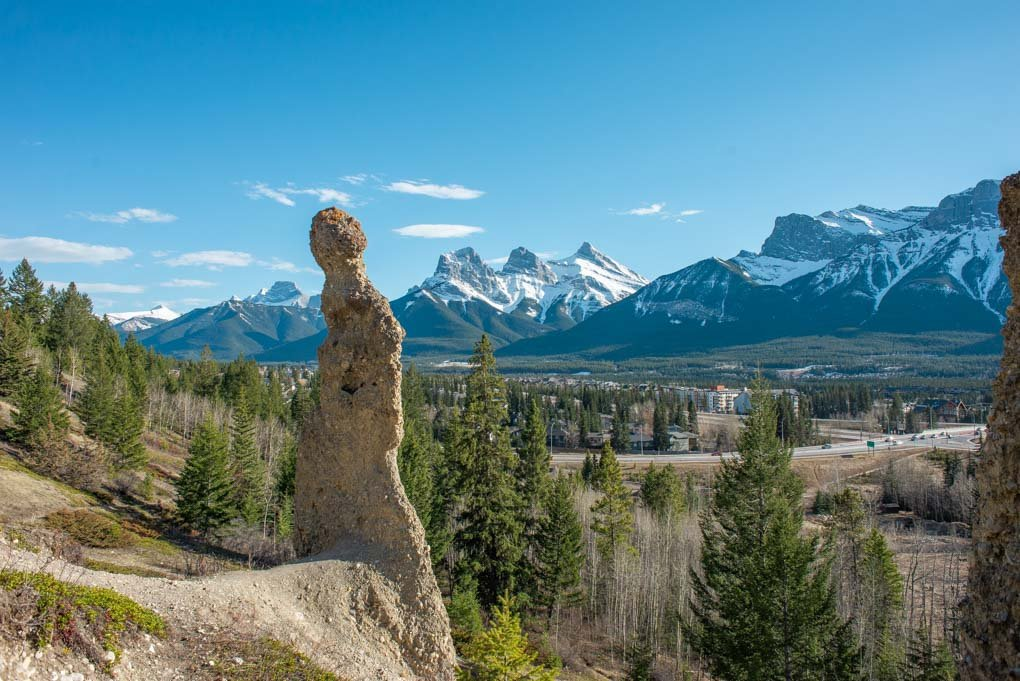 Hoodoos with Three Sisters Mountain Range in the background