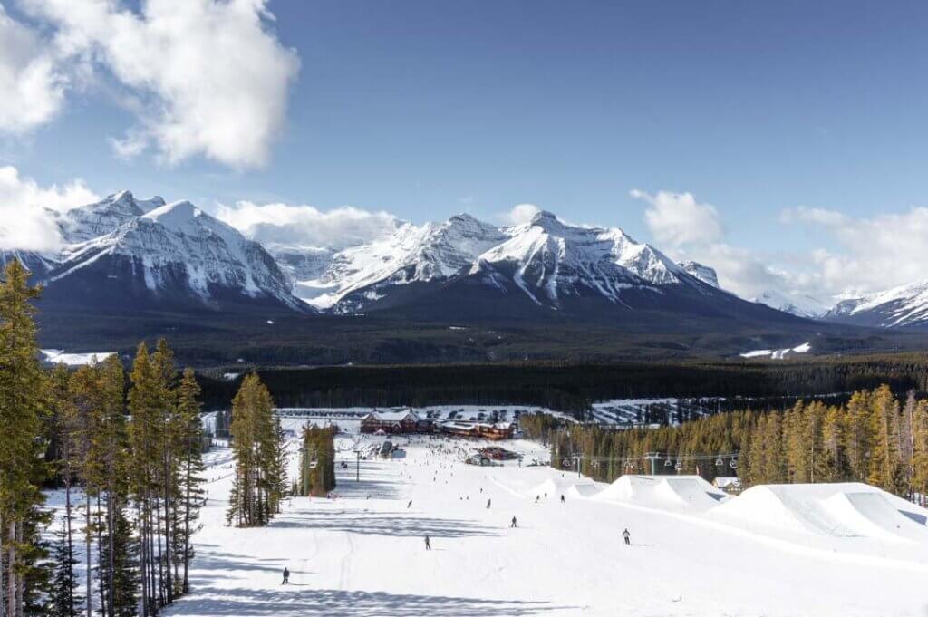 People ski down the Lake Louise Ski Resort