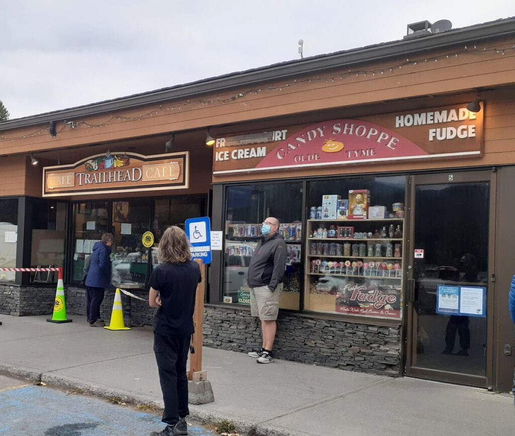 the outside of the old Tyme Candy Shop in Lake louise