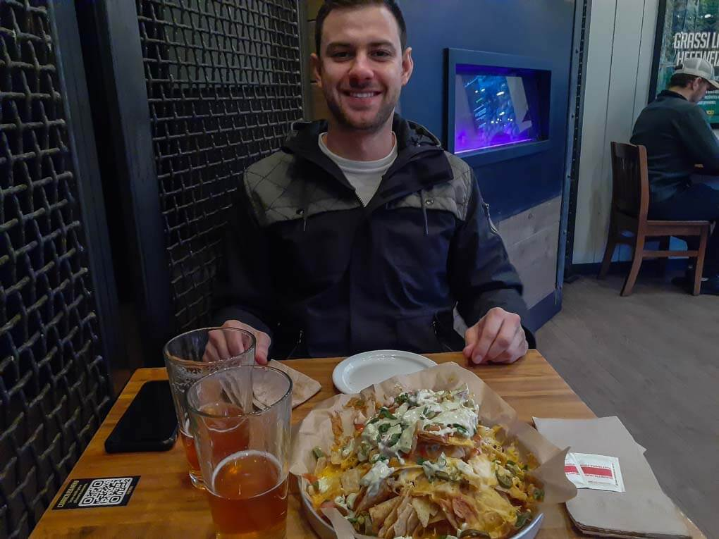 Nachoes and beer at Grizzly Paw Brewing in Canmore