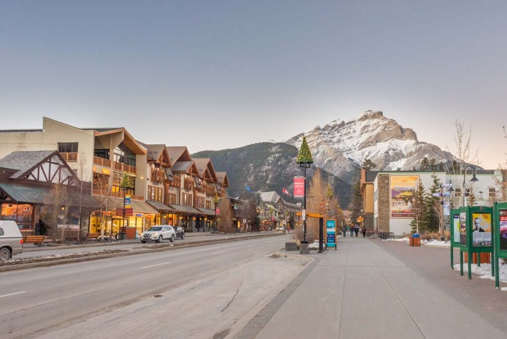 view of Banff Ave in the winter