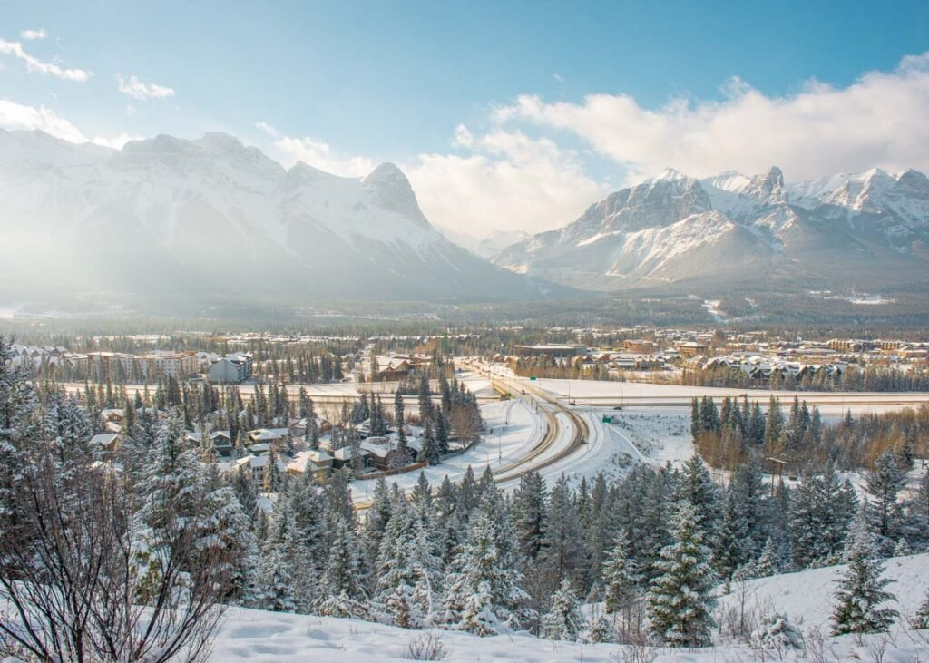 view of Canmore in winter from the Hoodoos