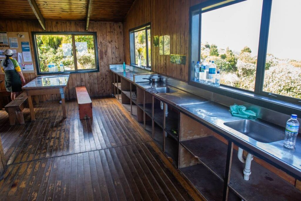 The kitchen at the Pouakia Hut in Mount Taranaki