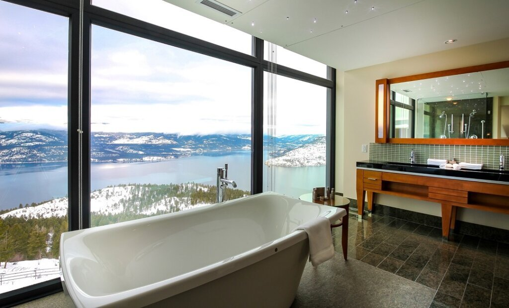 Bathtub with a view at the Sparkling Hills Resort in Vernon, BC