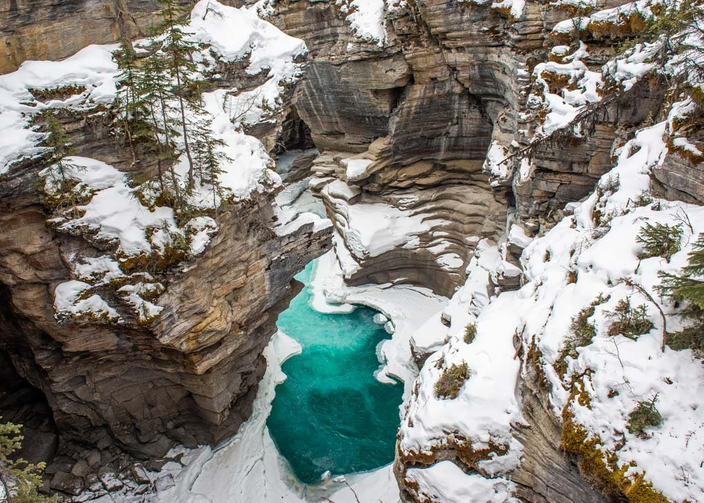 Lower part of Athabasca Falls in winter