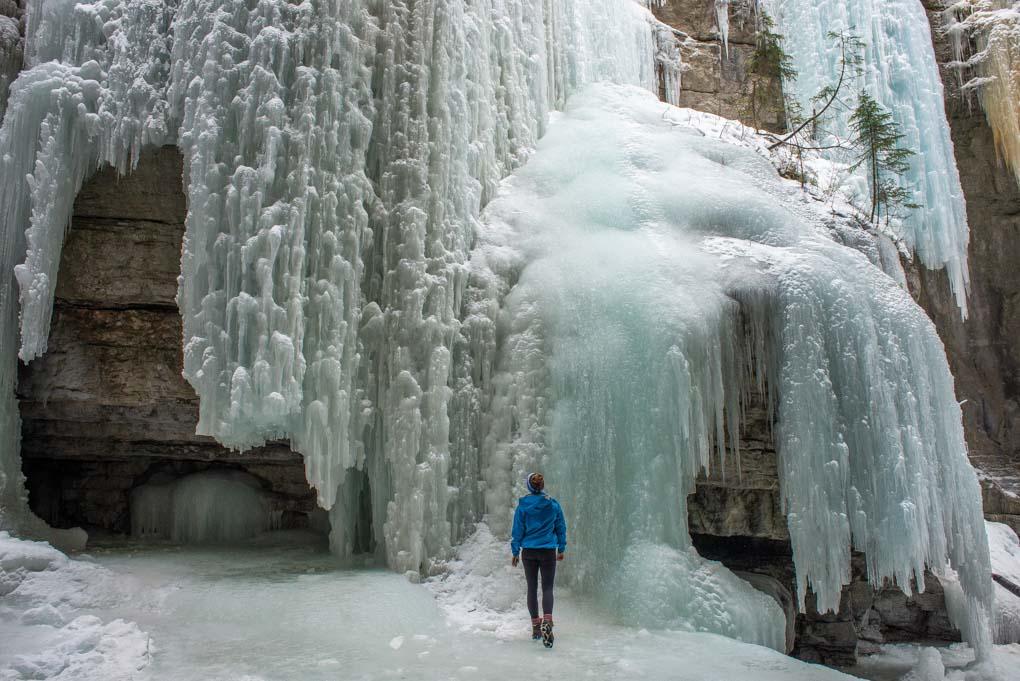 Walking amoung huge frozen waterfalls in Malign Canyon in Jasper