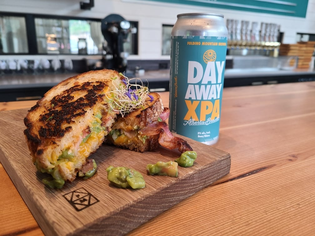 a grilled cheese and beer from Folding Mountain Brewing in Jasper National Park