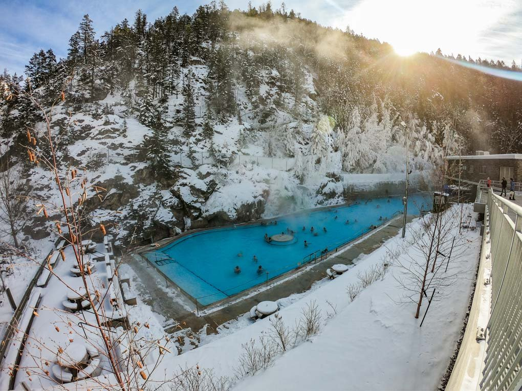 The Radium Hot Springs as seen from the entrance looking down into the pools