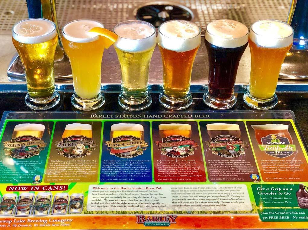 A selection o beers at Barley Station Brew Pub