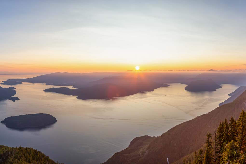 Sunset views from St. Mark's Summit, Vancouver