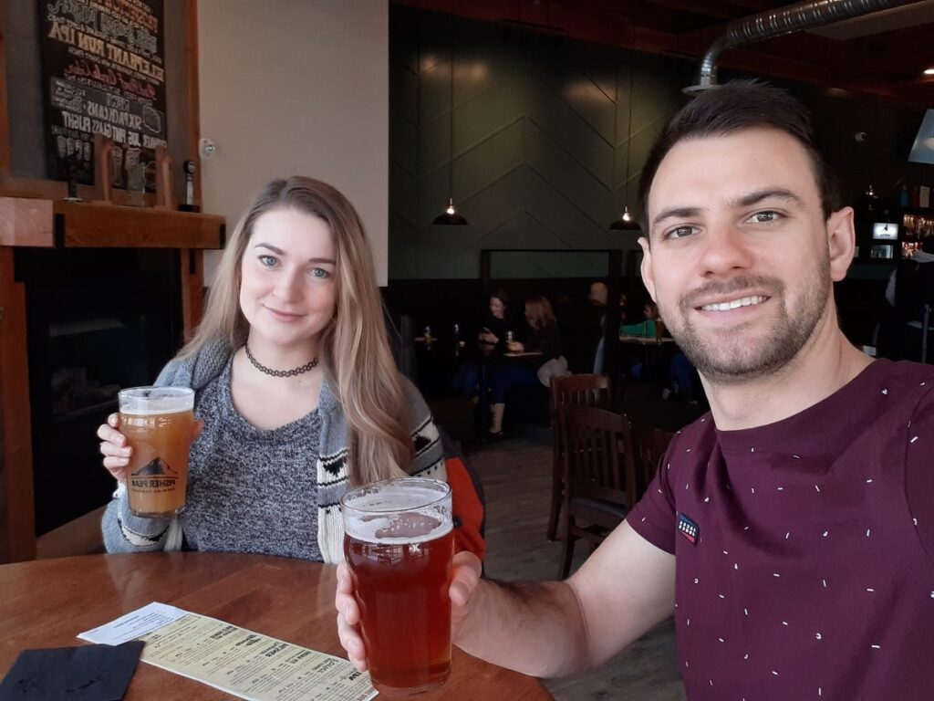 drinking beer at the Heid Out in Cranbrook BC