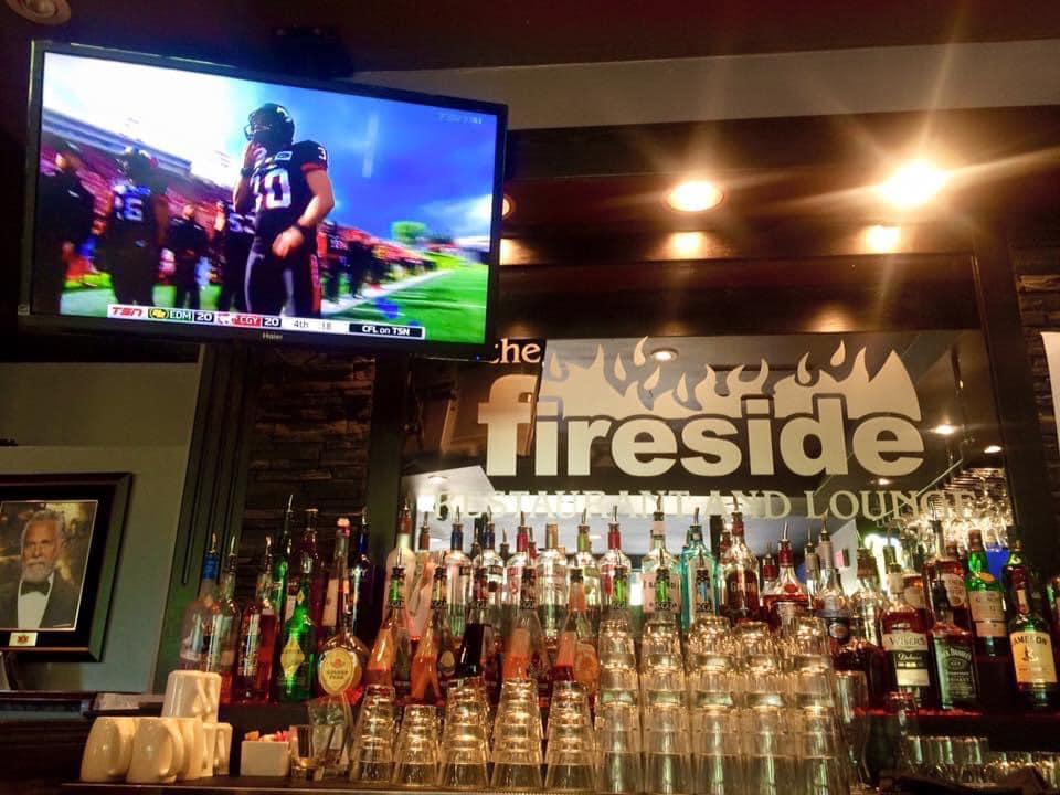 the bar inside fireside restaurant and lounge